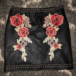 Stuffed Flower Embroidery Faux Leather Skirt